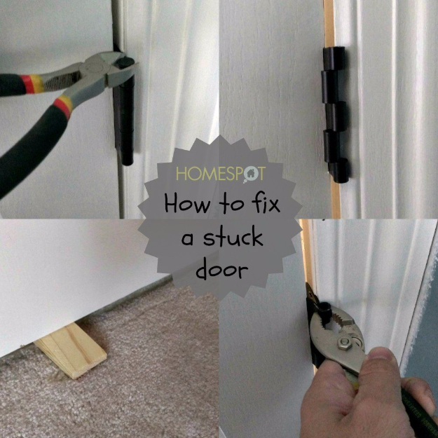 33 Home Repair Secrets From the Pros - Fixing A Crooked Or Stuck Door - Home Repair Ideas, Home Repairs On A Budget, Home Repair Tips, Living Room, Bedroom, Kitchen Repair, Home Improvement, Quick And Easy Home Tips http://diyjoy.com/diy-home-repair-secrets