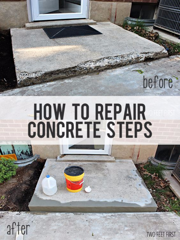 DIY Home Improvement Ideas- Fixing Chipped Concrete Steps - Home Repair Ideas, Home Repairs On A Budget, Home Repair Tips, Living Room, Bedroom, Kitchen Repair, Home Improvement, Quick And Easy Home Tips #diy #homeimprovement #diyhome #homerepair