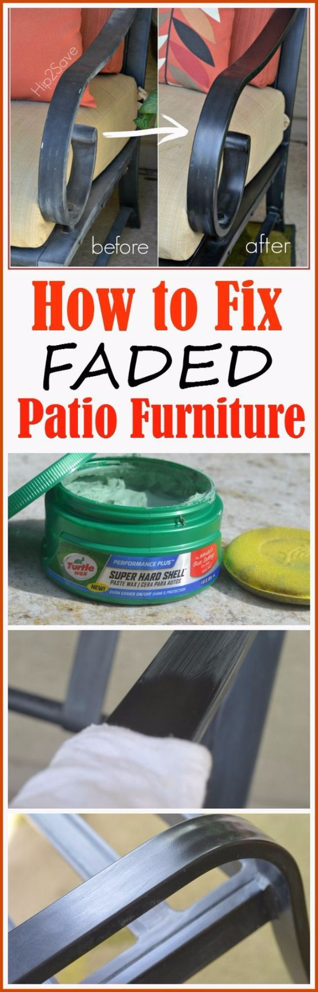 DIY Home Improvement Ideas- Fixing Faded Patio Furniture - Home Repair Ideas, Home Repairs On A Budget, Home Repair Tips, Living Room, Bedroom, Kitchen Repair, Home Improvement, Quick And Easy Home Tips #diy #homeimprovement #diyhome #homerepair