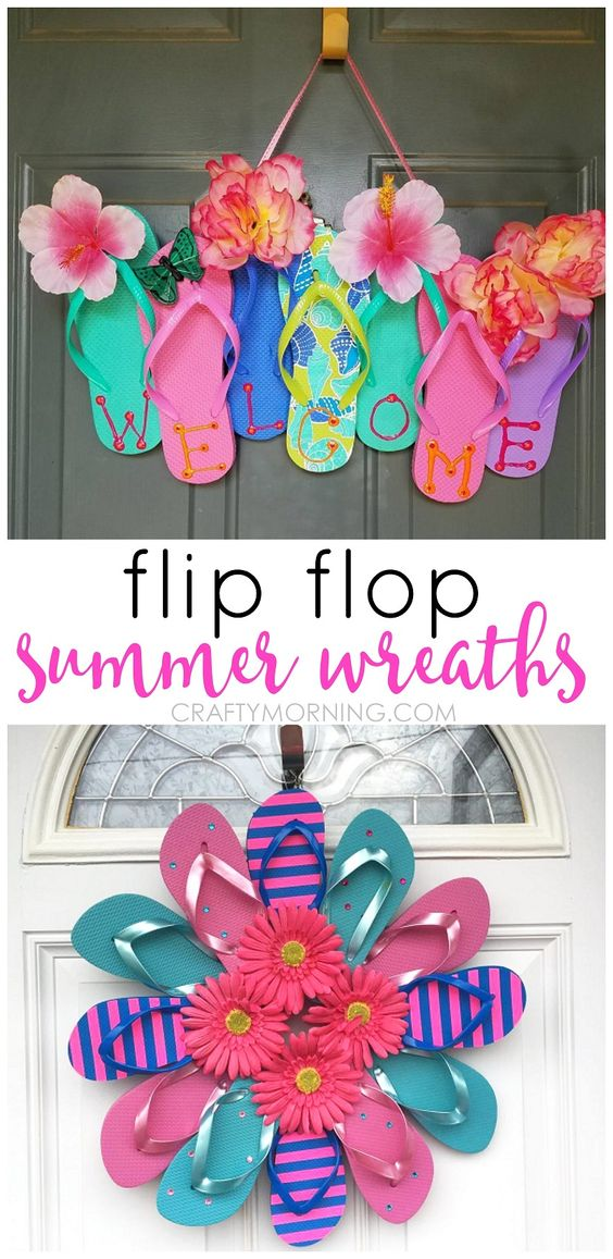 Dollar Store Crafts - Flip Flop Wreaths - Best Cheap DIY Dollar Store Craft Ideas for Kids, Teen, Adults, Gifts and For Home #dollarstore #crafts #cheapcrafts #diy
