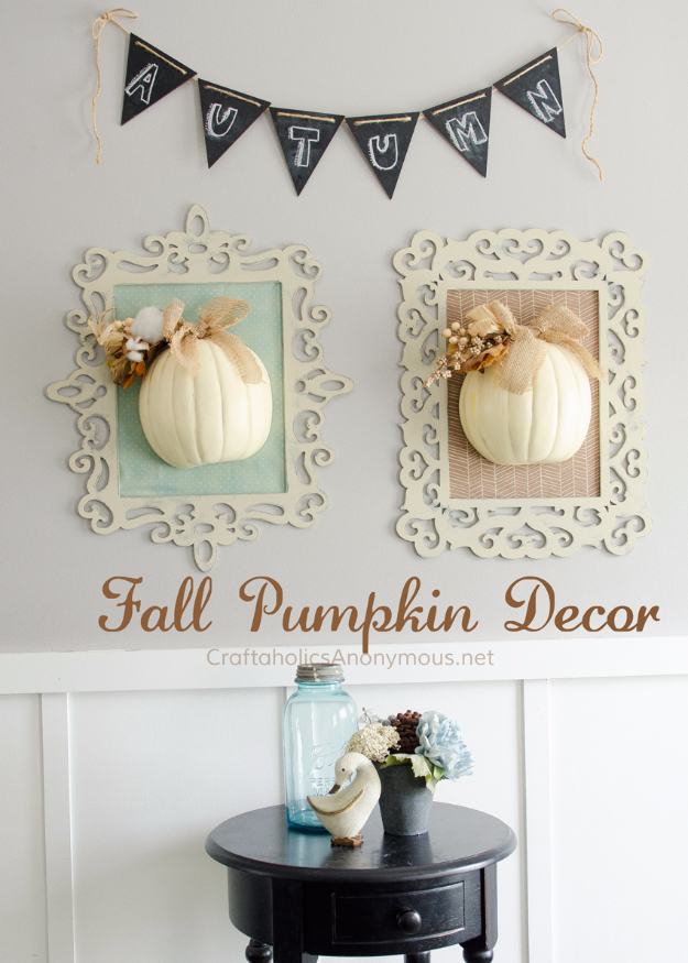 34 Pumpkin Decorations For Fall - Framed Fall Pumpkins - Easy DIY Pumpkin Decor Ideas for Home, Yard, Outdoors - Cool Pumpkin Decorating Ideas for Adults and Kids Party, Creative Crafts With Paint, Glitter and No Carve Projects for Halloween