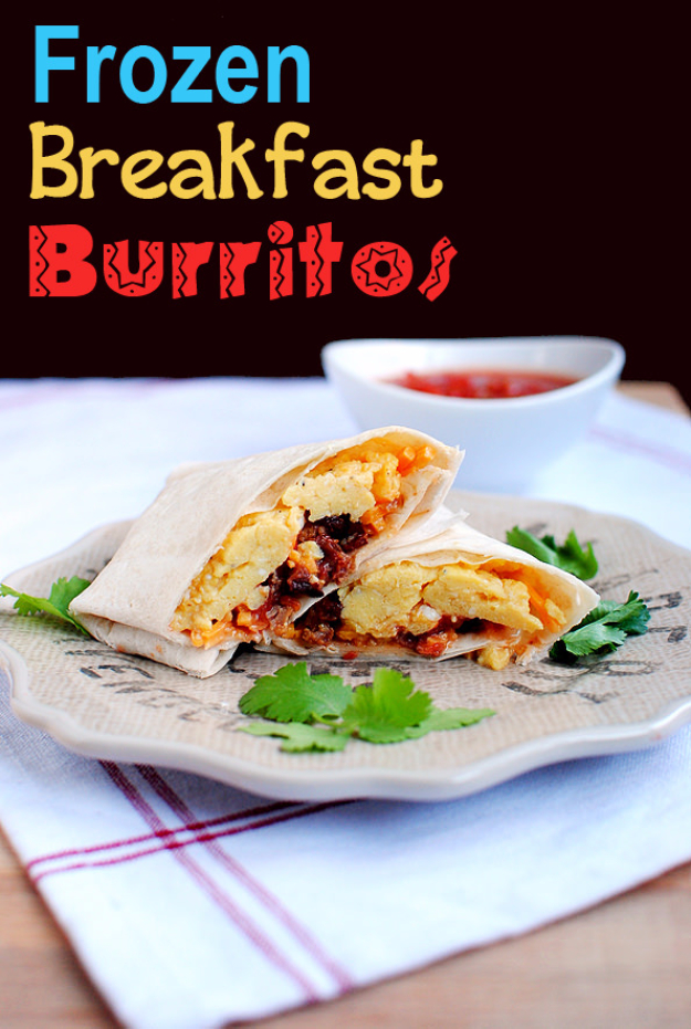 33 Easy Recipes for Back To School - Frozen Breakfast Burritos -Quick and Delicious Recipe Ideas for Kids and Adults. Pack for School Lunches, Make Ahead for Work, Freeze and Store for Early Morning Breakfasts, Super Lunch Meals, Simple Snacks and Dinner