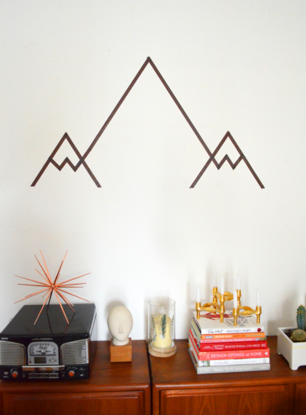 DIY Wall Art Ideas for the Bedroom - Geometric Mountains DIY - Rustic Decorating Projects For Bedroom, Brilliant Wall Art Projects, Creative Wall Art, Do It Yourself Crafts, Easy Wall Art, Bedroom Decor on a Budget, Bedroom - Paintings, Canvas Art Ideas, Wall Hangings