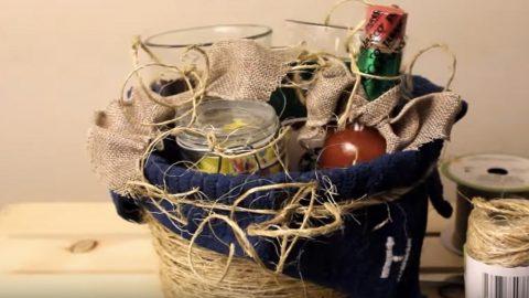 She Found The Best Pottery Barn Inspired Dollar Store Gift Basket