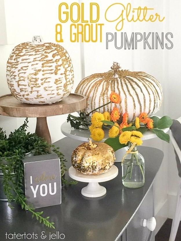 34 Pumpkin Decorations For Fall -Gold Glitter And Grout Pumpkins - Easy DIY Pumpkin Decor Ideas for Home, Yard, Outdoors - Cool Pumpkin Decorating Ideas for Adults and Kids Party, Creative Crafts With Paint, Glitter and No Carve Projects for Halloween