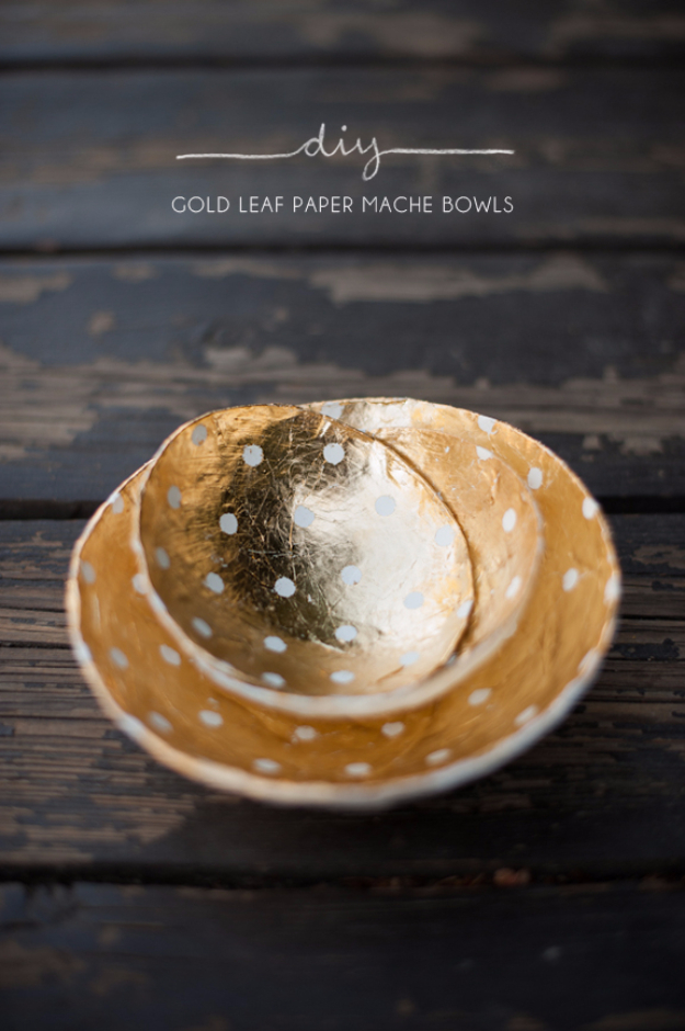 37 Quickest DIY Gifts You Can Make - Gold Leaf Paper Mache Bowls - Easy and Quick Last Minute DIY Gift Ideas for Mom, Dad, Him or Her, Freinds, Teens, Kids, Girls and Boys. Fast Crafts and Fun Ideas in A Jar, Birthday Presents - Step by Step Tutorials http://diyjoy.com/quick-diy-gifts