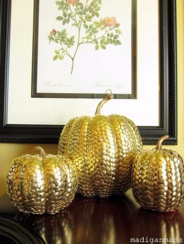 34 Pumpkin Decorations For Fall - Gold Thumbtack Covered Pumpkins - Easy DIY Pumpkin Decor Ideas for Home, Yard, Outdoors - Cool Pumpkin Decorating Ideas for Adults and Kids Party, Creative Crafts With Paint, Glitter and No Carve Projects for Halloween