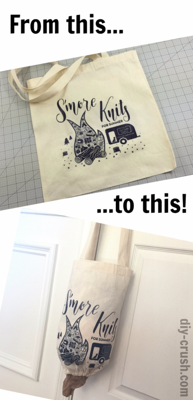 Easy DIY Projects - Grocery Bag Holder From A Tote Bag - Easy DIY Crafts and Projects - Simple Craft Ideas for Beginners, Cool Crafts To Make and Sell, Simple Home Decor, Fast DIY Gifts, Cheap and Quick Project Tutorials #diy #crafts #easycrafts