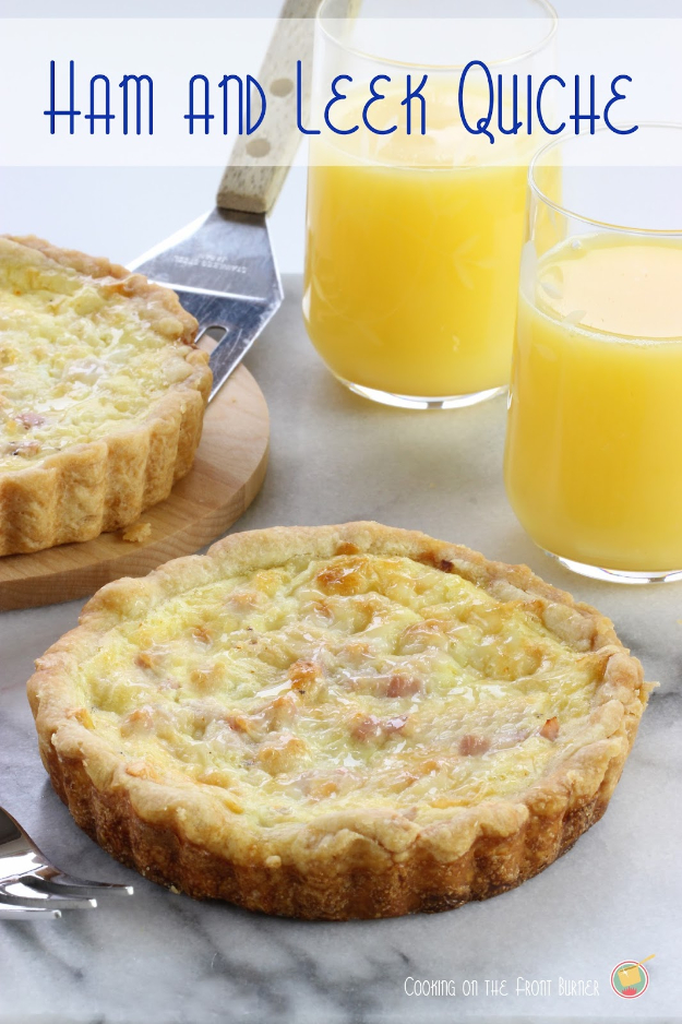 33 Easy Recipes for Back To School - Ham And Leek Quiche - Quick and Delicious Recipe Ideas for Kids and Adults. Pack for School Lunches, Make Ahead for Work, Freeze and Store for Early Morning Breakfasts, Super Lunch Meals, Simple Snacks and Dinner