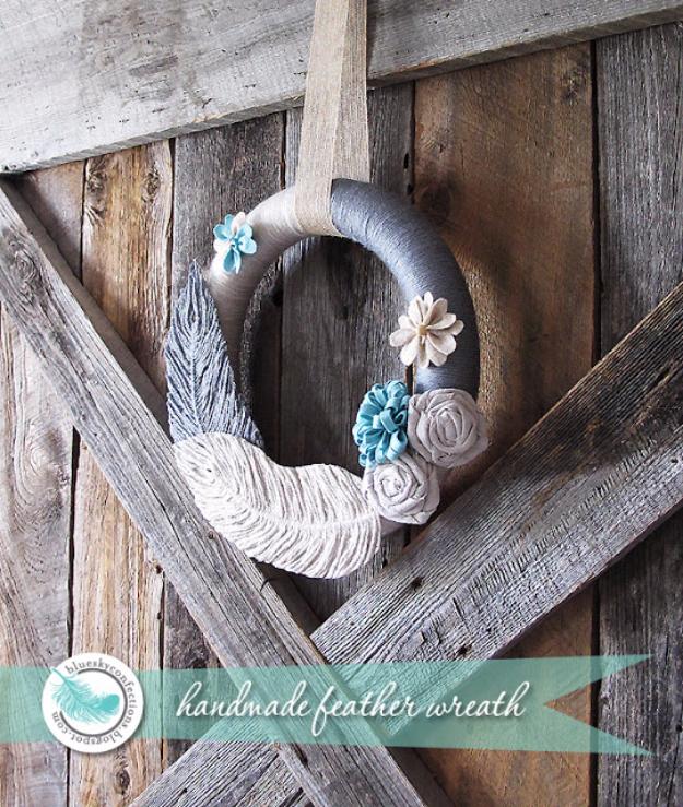 Clever DIYs Made With Yarn - Handmade Yarn Feather Tutorial - Yarn Crafts To Try, Easy Yarn DIYs, Fun Crafts To Do With Yarn, Wall Art, Awesome Yarn Ideas, Yarn DIY Projects, Brillian Yarn Craft Tutorials http://diyjoy.com/diy-curtains-drapes