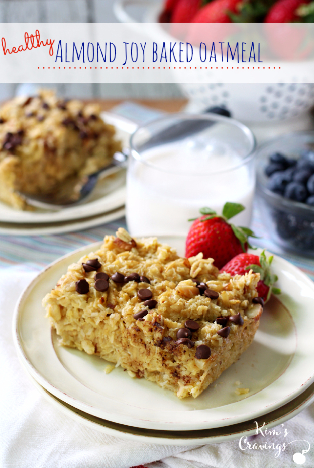 33 Easy Recipes for Back To School - Healthy Almond Joy Baked Oatmeal -Quick and Delicious Recipe Ideas for Kids and Adults. Pack for School Lunches, Make Ahead for Work, Freeze and Store for Early Morning Breakfasts, Super Lunch Meals, Simple Snacks and Dinner