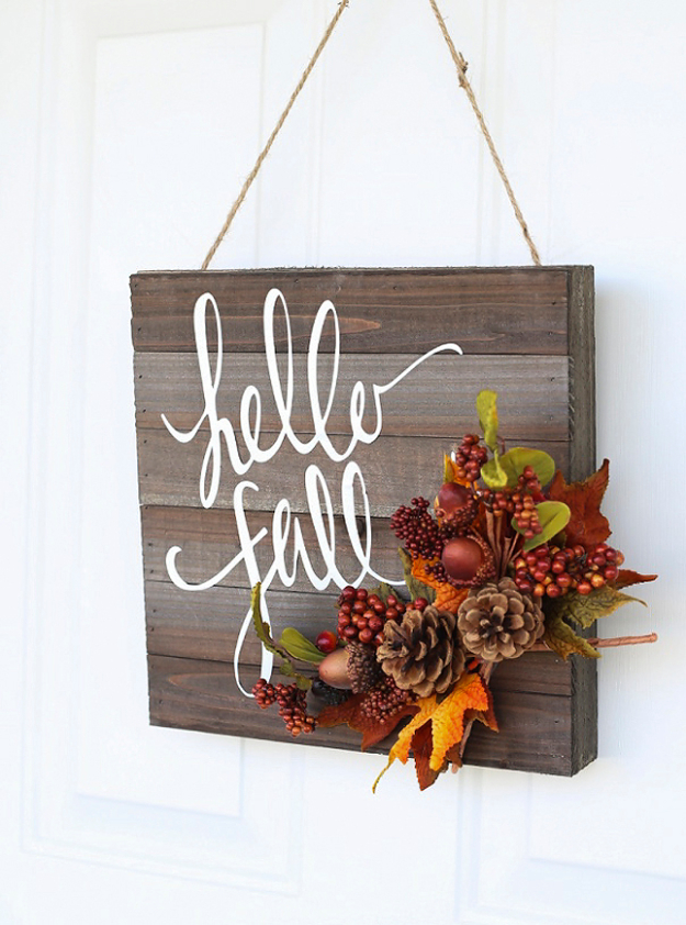 38 Best DIY Projects for Fall - Hello Fall Door Hanger - Quick And Easy Projects For Fall, Fun DIY Projects To Try This Fall, Cute Fall Craft Ideas, Fall Decors, Easy DIY Crafts For Fall