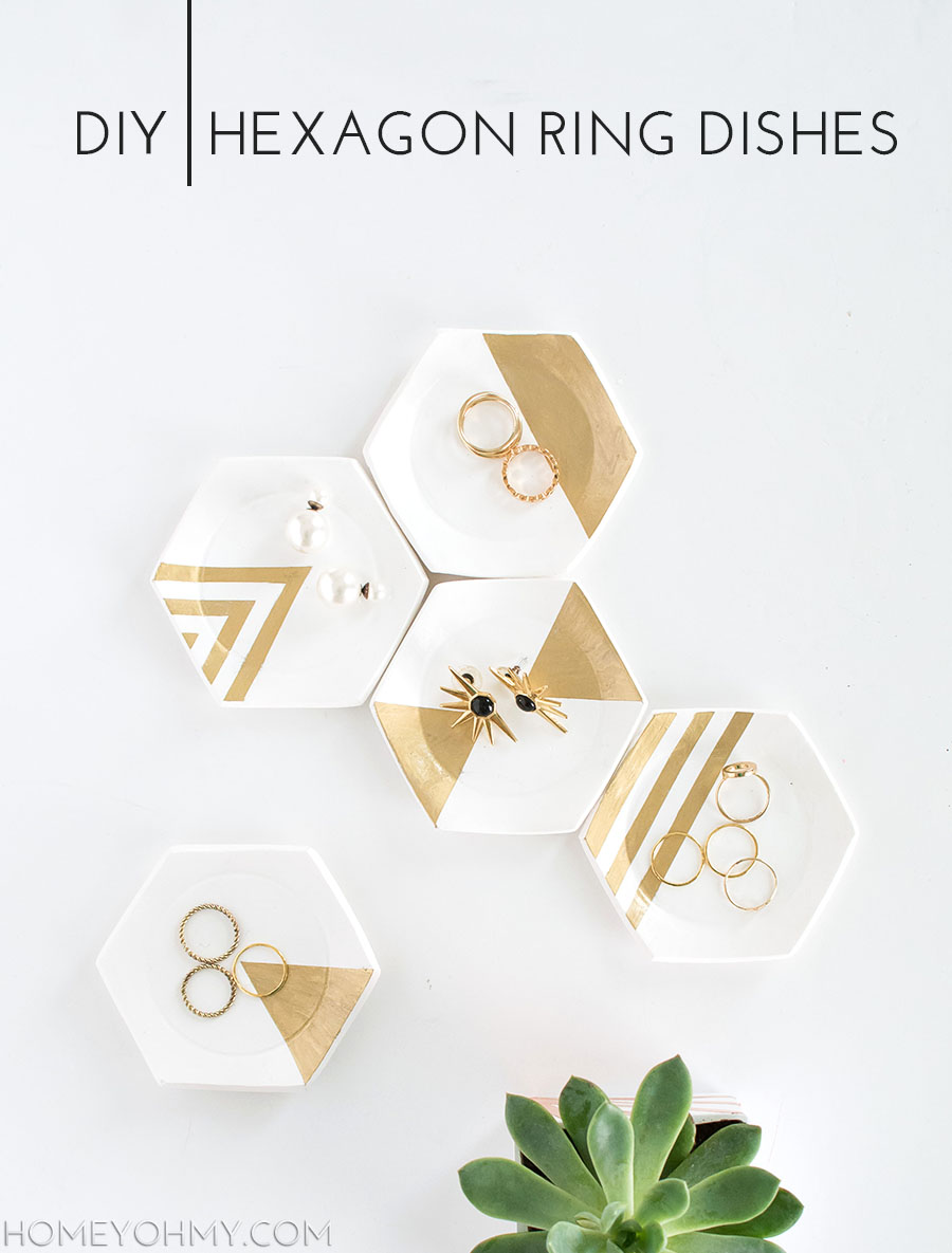 Dollar Store Crafts - Hexagon Ring Dishes - Best Cheap DIY Dollar Store Craft Ideas for Kids, Teen, Adults, Gifts and For Home #dollarstore #crafts #cheapcrafts #diy