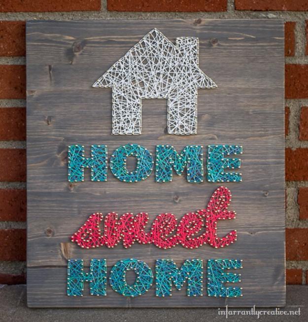 Clever DIYs Made With Yarn - Home Sweet Home Yarn String Art - Yarn Crafts To Try, Easy Yarn DIYs, Fun Crafts To Do With Yarn, Wall Art, Awesome Yarn Ideas, Yarn DIY Projects, Brillian Yarn Craft Tutorials http://diyjoy.com/diy-yarn-crafts