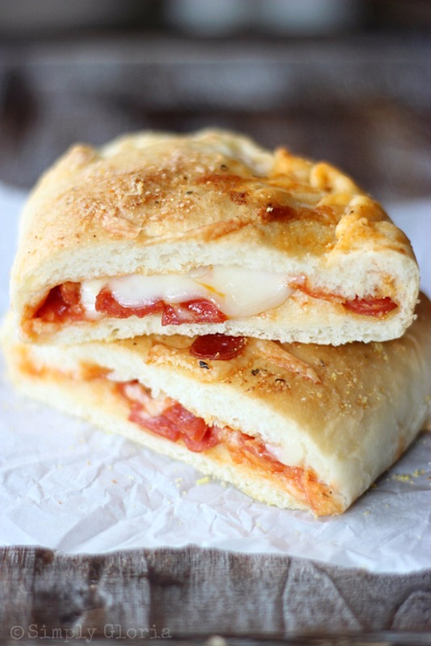 33 Easy Recipes for Back To School - Homemade Stuffed Pizza Pockets - Quick and Delicious Recipe Ideas for Kids and Adults. Pack for School Lunches, Make Ahead for Work, Freeze and Store for Early Morning Breakfasts, Super Lunch Meals, Simple Snacks and Dinner
