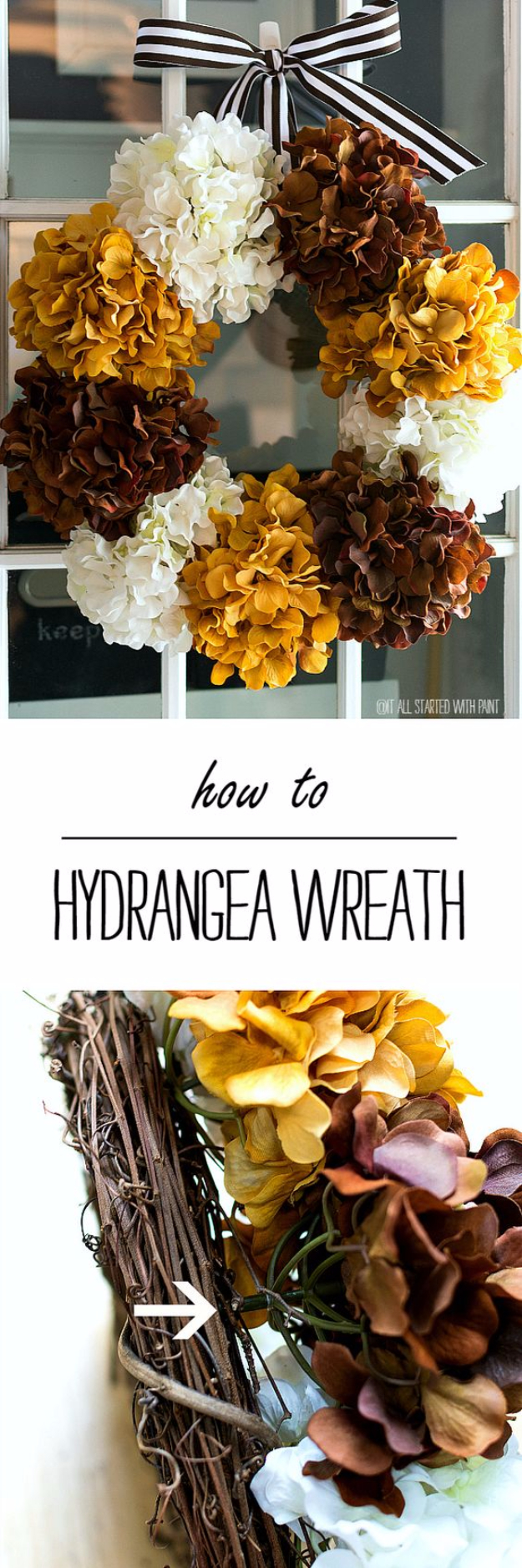 35 Fall Wreaths for Your Door - Hydrangea Wreath For Fall- Fall Wreaths For Front Door, Fall Wreaths Ideas To Try, Easy DIY Fall Wreaths, Brilliant Fall Wreath DIY, Porch Decor, Cool Ideas For Fall, Fall Projects http://diyjoy.com/fall-wreaths-door