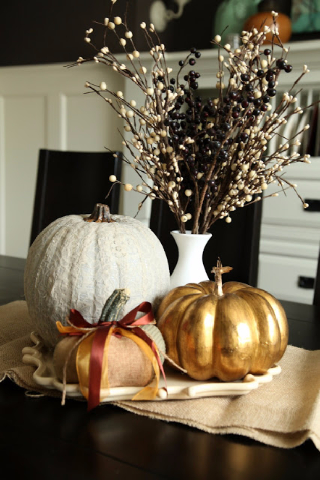 34 Pumpkin Decorations For Fall - Lace Pumpkin DIY - Easy DIY Pumpkin Decor Ideas for Home, Yard, Outdoors - Cool Pumpkin Decorating Ideas for Adults and Kids Party, Creative Crafts With Paint, Glitter and No Carve Projects for Halloween