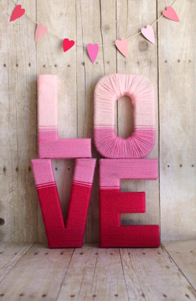 Clever DIYs Made With Yarn - Love Yarn Letters - Yarn Crafts To Try, Easy Yarn DIYs, Fun Crafts To Do With Yarn, Wall Art, Awesome Yarn Ideas, Yarn DIY Projects, Brillian Yarn Craft Tutorials http://diyjoy.com/diy-curtains-drapes
