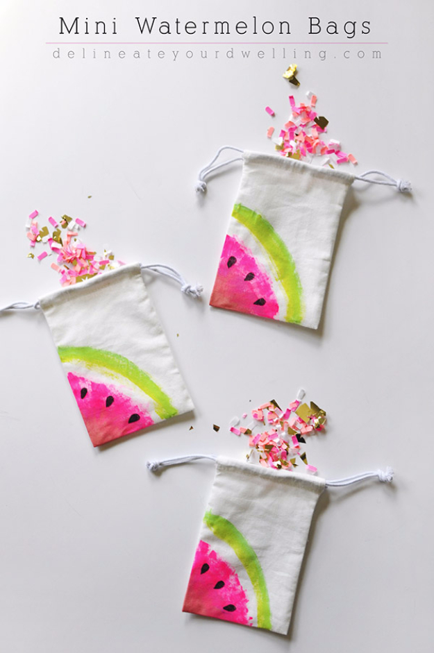 Dollar Store Crafts - Mini Watermelon Bags - Best Cheap DIY Dollar Store Craft Ideas for Kids, Teen, Adults, Gifts and For Home #dollarstore #crafts #cheapcrafts #diy