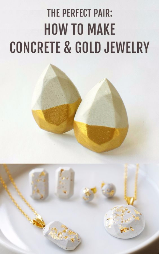 Quick Last Minute DIY Gifts You Can Make - Minimalist Concrete Jewelry - Easy and Quick Last Minute DIY Gift Ideas for Mom, Dad, Him or Her, Freinds, Teens, Kids, Girls and Boys. Fast Crafts and Fun Ideas in A Jar, Birthday Presents - Step by Step Tutorials #diygifts #xmas #christmasgifts #quickgifts