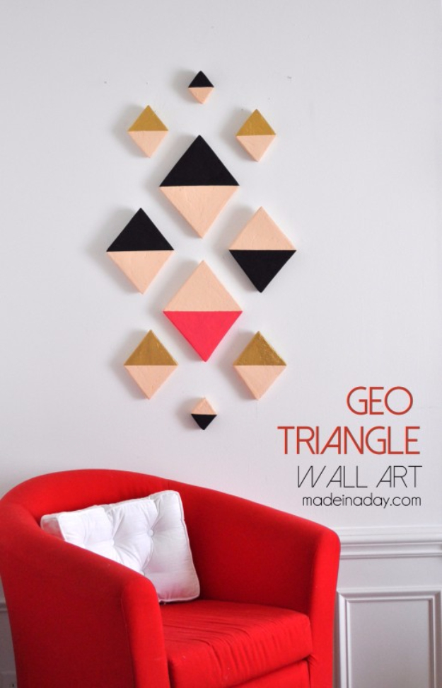 35 Wall Art Ideas for the Bedroom - Modern Triangle Geo Wall Art - Rustic Decorating Projects For Bedroom, Brilliant Wall Art Projects, Creative Wall Art, Do It Yourself Crafts, Easy Wall Art, Bedroom Decor on a Budget, Bedroom http://diyjoy.com/wall-art-ideas-bedroom