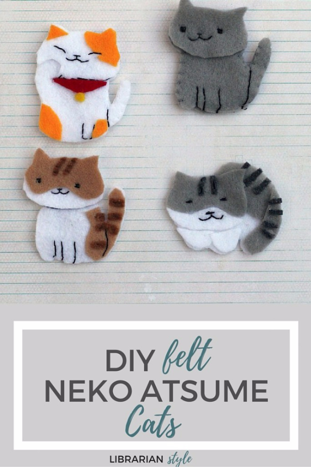 Easy DIY Projects - Neko Atsume Kitty Collector Felt Craft - Easy DIY Crafts and Projects - Simple Craft Ideas for Beginners, Cool Crafts To Make and Sell, Simple Home Decor, Fast DIY Gifts, Cheap and Quick Project Tutorials #diy #crafts #easycrafts