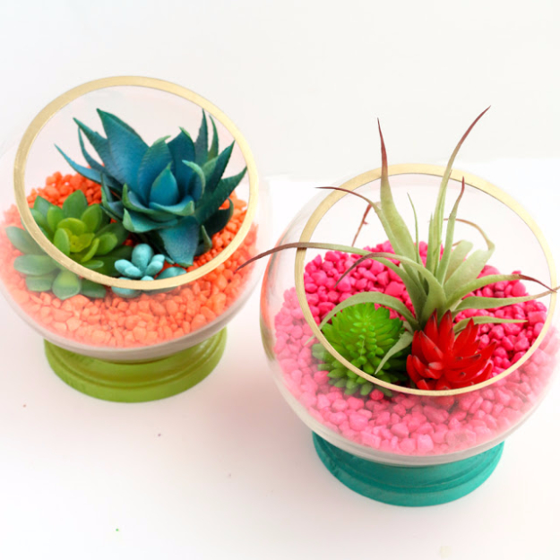 Quick Last Minute DIY Gifts You Can Make - Neon Footed Terrariums - Easy and Quick Last Minute DIY Gift Ideas for Mom, Dad, Him or Her, Freinds, Teens, Kids, Girls and Boys. Fast Crafts and Fun Ideas in A Jar, Birthday Presents - Step by Step Tutorials #diygifts #xmas #christmasgifts #quickgifts
