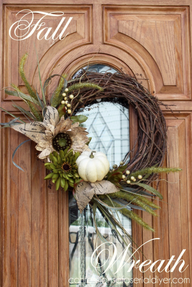 35 Fall Wreaths for Your Door - New Fall Wreath - Fall Wreaths For Front Door, Fall Wreaths Ideas To Try, Easy DIY Fall Wreaths, Brilliant Fall Wreath DIY, Porch Decor, Cool Ideas For Fall, Fall Projects