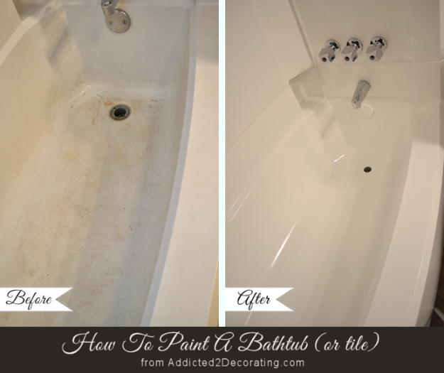 DIY Home Improvement Ideas- Painting A Bathtub - Home Repair Ideas, Home Repairs On A Budget, Home Repair Tips, Living Room, Bedroom, Kitchen Repair, Home Improvement, Quick And Easy Home Tips #diy #homeimprovement #diyhome #homerepair