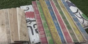 He Found This Colored Pallet Wood In Front of A Shut Down Pre-School And Created Magic!