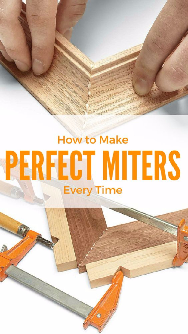 DIY Woodworking Tips - Perfect Miters Everytime - Easy Woodworking Ideas, Woodworking Tips and Tricks, Woodworking Tips For Beginners, Basic Guide For Woodworking #woodworking