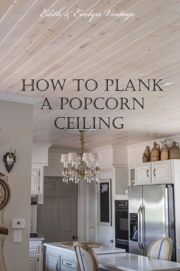 DIY Home Improvement Ideas- Plank A Popcorn Ceiling - Home Repair Ideas, Home Repairs On A Budget, Home Repair Tips, Living Room, Bedroom, Kitchen Repair, Home Improvement, Quick And Easy Home Tips #diy #homeimprovement #diyhome #homerepair