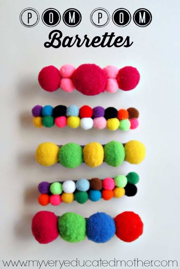 37 Quickest DIY Gifts You Can Make - Pom Pom Barrettes - Easy and Quick Last Minute DIY Gift Ideas for Mom, Dad, Him or Her, Freinds, Teens, Kids, Girls and Boys. Fast Crafts and Fun Ideas in A Jar, Birthday Presents - Step by Step Tutorials http://diyjoy.com/quick-diy-gifts