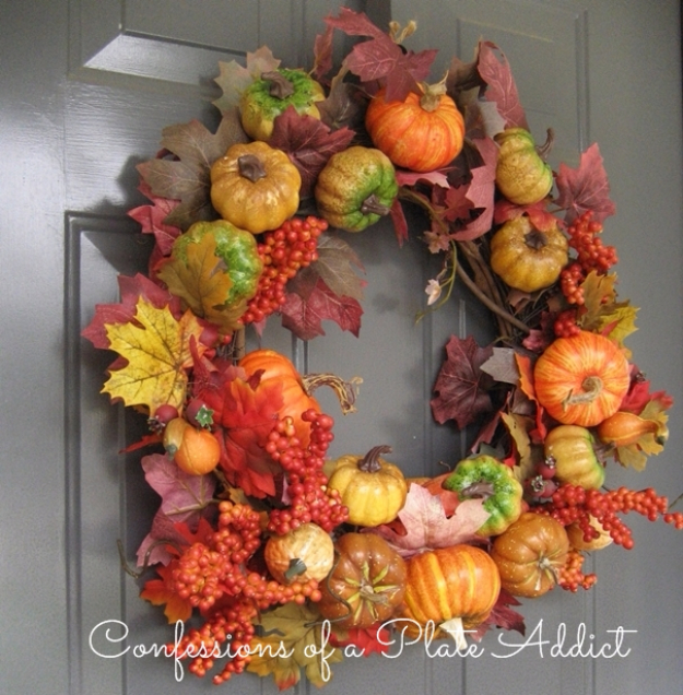DYI Fall Wreaths for Your Door - Pottery Barn Inspired Fall Wreath - Fall Wreaths For Front Door, Fall Wreaths Ideas To Try, Easy DIY Fall Wreaths, Brilliant Fall Wreath DIY, Porch Decor, Cool Ideas For Fall, Fall Projects