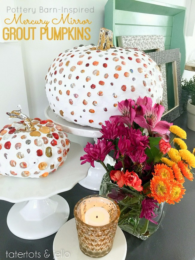 34 Pumpkin Decorations For Fall - Pottery Barn Inspired Mercury Mirror Grout Pumpkins - Easy DIY Pumpkin Decor Ideas for Home, Yard, Outdoors - Cool Pumpkin Decorating Ideas for Adults and Kids Party, Creative Crafts With Paint, Glitter and No Carve Projects for Halloween