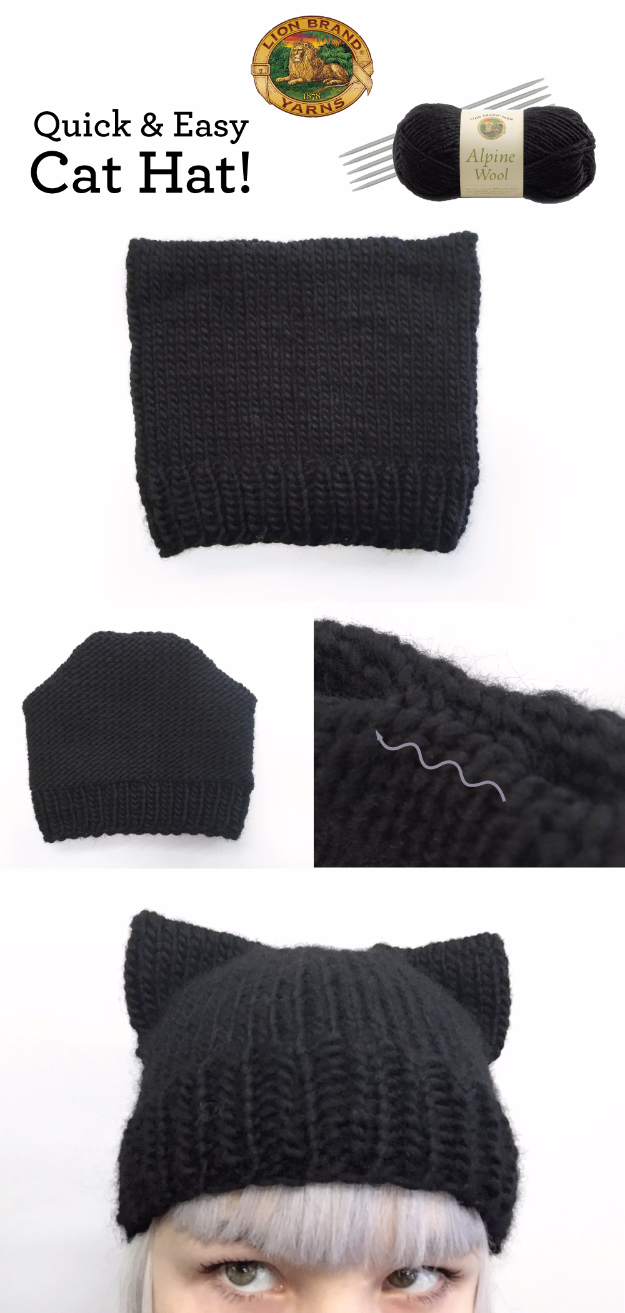 38 Easy Knitting Ideas - Quick And Easy Cat Hat - Knitting Ideas For Beginners, Cute Kinitting Projects, Knitting Ideas And Patterns, Easy Knitting Crafts, Gifts You Can Knit, Knitted Decors http://diyjoy.com/easy-knitting-ideas