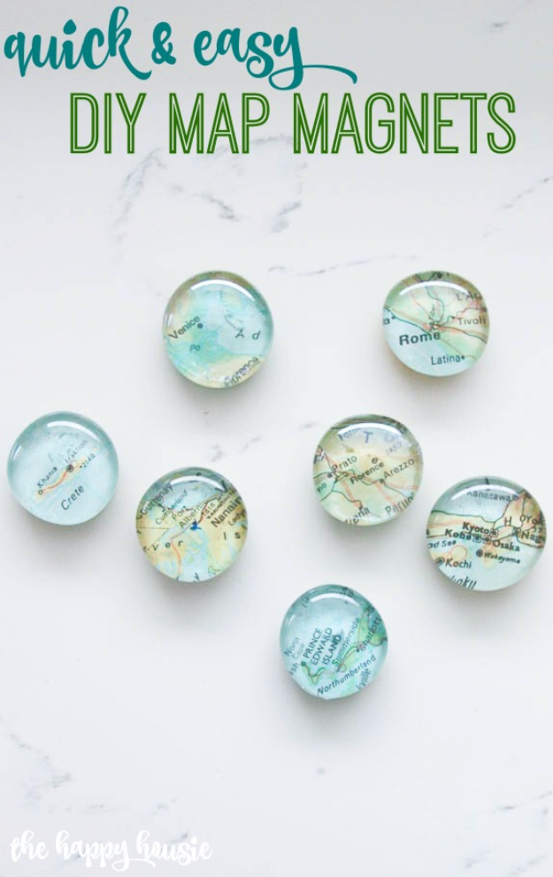 Easy DIY Projects - Quick And Easy DIY Map Magnets - Easy DIY Crafts and Projects - Simple Craft Ideas for Beginners, Cool Crafts To Make and Sell, Simple Home Decor, Fast DIY Gifts, Cheap and Quick Project Tutorials #diy #crafts #easycrafts