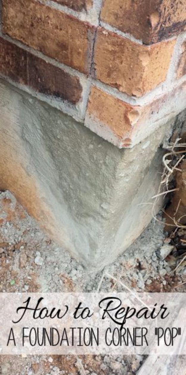 DIY Home Improvement Ideas- Repair A Foundation Corner - Home Repair Ideas, Home Repairs On A Budget, Home Repair Tips, Living Room, Bedroom, Kitchen Repair, Home Improvement, Quick And Easy Home Tips #diy #homeimprovement #diyhome #homerepair