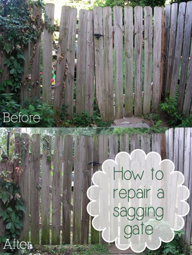 33 Home Repair Secrets From the Pros - Repair A Sagging Gate - Home Repair Ideas, Home Repairs On A Budget, Home Repair Tips, Living Room, Bedroom, Kitchen Repair, Home Improvement, Quick And Easy Home Tips http://diyjoy.com/diy-home-repair-secrets