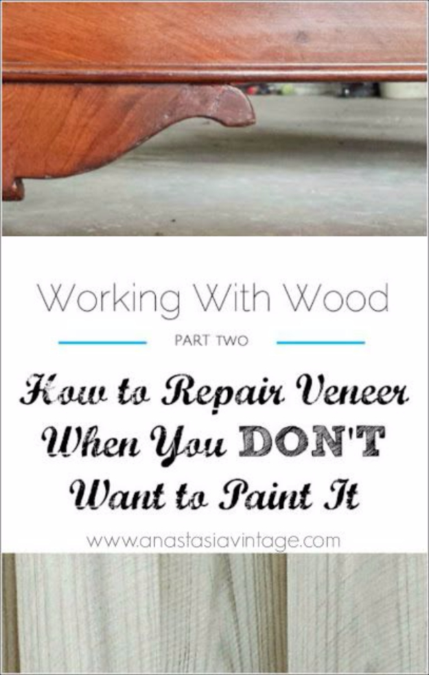 33 Home Repair Secrets From the Pros - Repairing Veneer - Home Repair Ideas, Home Repairs On A Budget, Home Repair Tips, Living Room, Bedroom, Kitchen Repair, Home Improvement, Quick And Easy Home Tips http://diyjoy.com/diy-home-repair-secrets