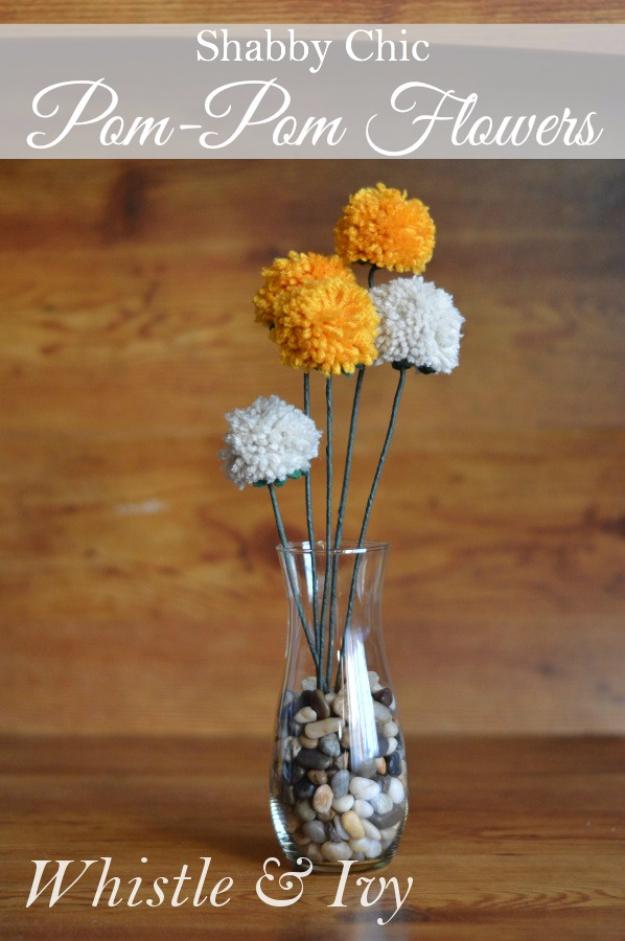Clever DIYs Made With Yarn - Shabby Chic Pom Pom Flowers - Yarn Crafts To Try, Easy Yarn DIYs, Fun Crafts To Do With Yarn, Wall Art, Awesome Yarn Ideas, Yarn DIY Projects, Brillian Yarn Craft Tutorials http://diyjoy.com/diy-yarn-crafts