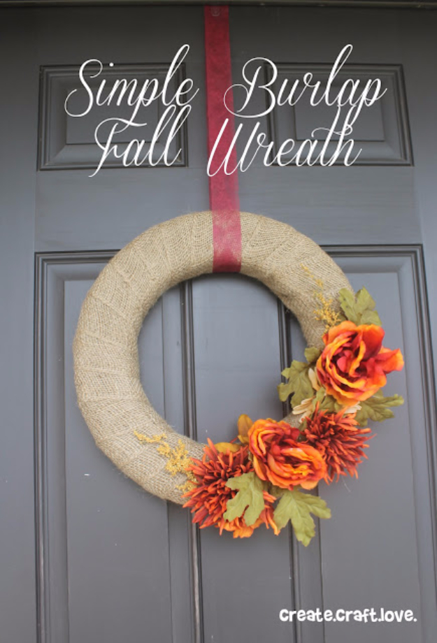 DIYFall Wreaths for Your Door - Simple Burlap Fall Wreath - Fall Wreaths For Front Door, Fall Wreaths Ideas To Try, Easy DIY Fall Wreaths, Brilliant Fall Wreath DIY, Porch Decor, Cool Ideas For Fall, Fall Projects