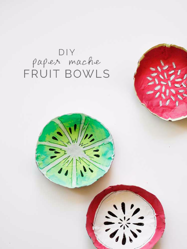 Dollar Store Crafts - Simple DIY Paper Mache Fruit Bowls - Best Cheap DIY Dollar Store Craft Ideas for Kids, Teen, Adults, Gifts and For Home - Christmas Gift Ideas, Jewelry, Easy Decorations. Crafts to Make and Sell and Organization Projects http://diyjoy.com/dollar-store-crafts