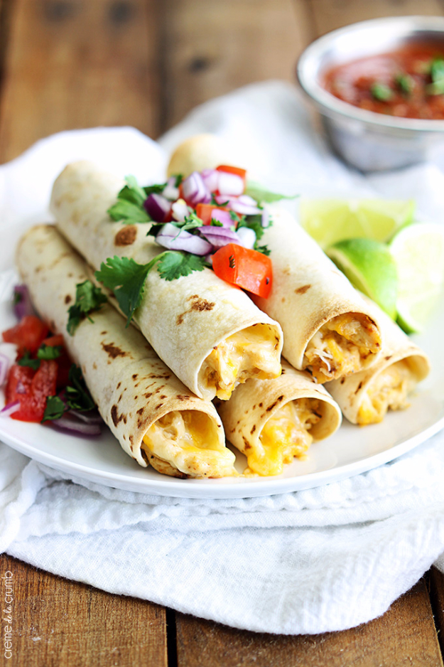 33 Easy Recipes for Back To School - Slow Cooker Cream Cheese Chicken Taquitos -Quick and Delicious Recipe Ideas for Kids and Adults. Pack for School Lunches, Make Ahead for Work, Freeze and Store for Early Morning Breakfasts, Super Lunch Meals, Simple Snacks and Dinner