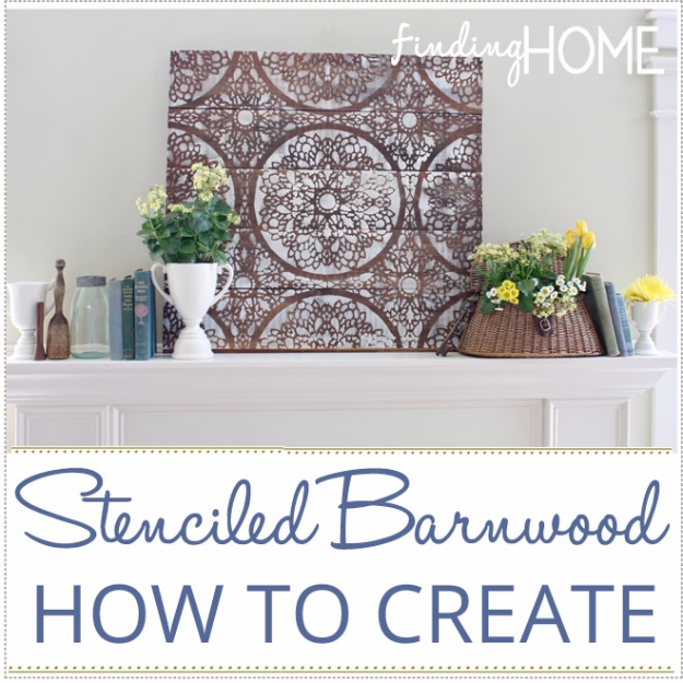 DIY Wall Art Ideas for the Bedroom - Stenciled Barnwood Tutorial - Rustic Decorating Projects For Bedroom, Brilliant Wall Art Projects, Creative Wall Art, Do It Yourself Crafts, Easy Wall Art, Bedroom Decor on a Budget, Bedroom - Paintings, Canvas Art Ideas, Wall Hangings