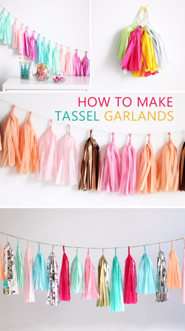 Dollar Store Crafts - Tassel Garland DIY - Best Cheap DIY Dollar Store Craft Ideas for Kids, Teen, Adults, Gifts and For Home - Christmas Gift Ideas, Jewelry, Easy Decorations. Crafts to Make and Sell and Organization Projects http://diyjoy.com/dollar-store-crafts