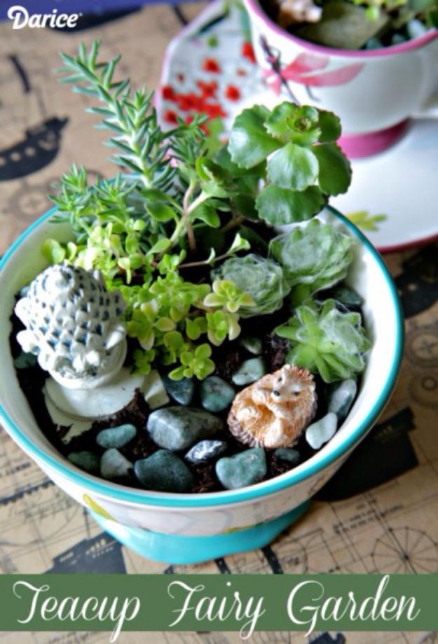 Dollar Store Crafts - Teacup Mini Garden - Best Cheap DIY Dollar Store Craft Ideas for Kids, Teen, Adults, Gifts and For Home #dollarstore #crafts #cheapcrafts #diy