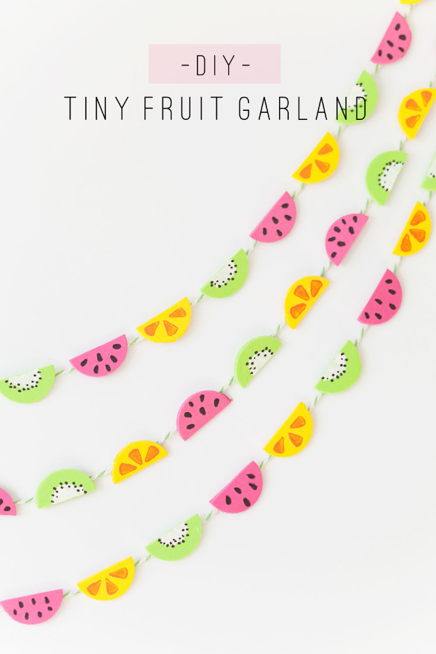 Easy DIY Projects - Tiny Fruit Garland - Easy DIY Crafts and Projects - Simple Craft Ideas for Beginners, Cool Crafts To Make and Sell, Simple Home Decor, Fast DIY Gifts, Cheap and Quick Project Tutorials #diy #crafts #easycrafts