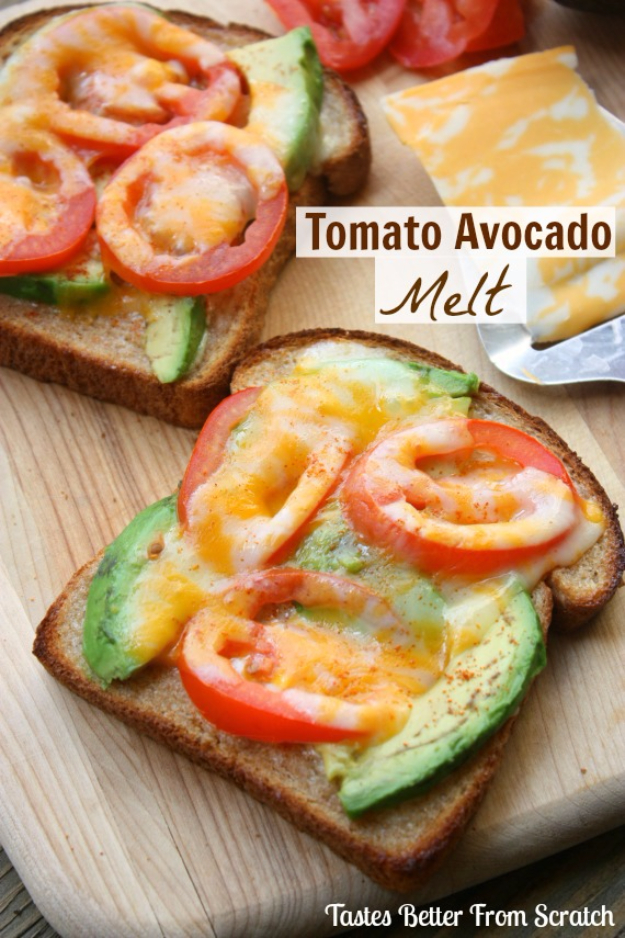 Easy Three Ingredient Lunch Recipes - Tomato Avocado Melt - Quick And Healthy 3 Ingredients Recipe Ideas for Breakfast, Lunch, Dinner, Appetizers, Snacks and Desserts - Cookies, Chicken, Crockpot Ideas, Baking and Microwave Recipes and Tutorials #easyrecipes #quickrecipes