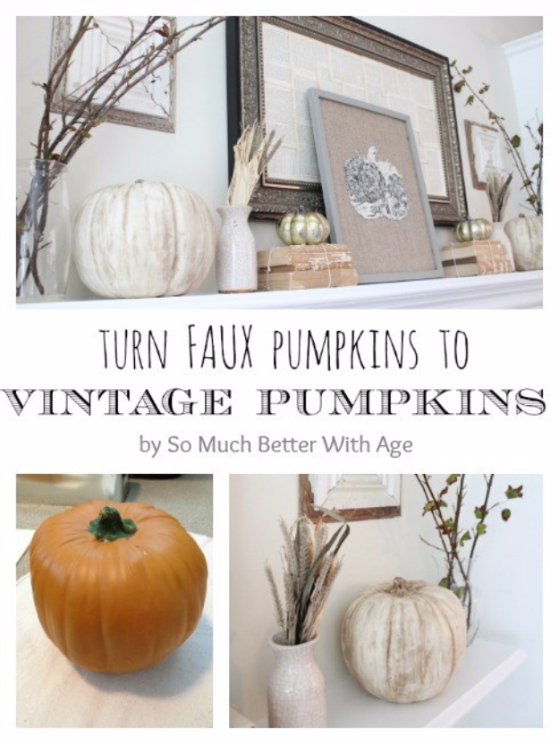 34 Pumpkin Decorations For Fall - Vintage Chalk Paint Pumpkins - Easy DIY Pumpkin Decor Ideas for Home, Yard, Outdoors - Cool Pumpkin Decorating Ideas for Adults and Kids Party, Creative Crafts With Paint, Glitter and No Carve Projects for Halloween